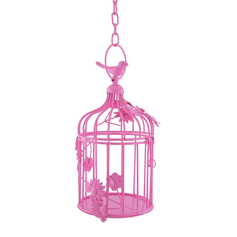 Hot Pink Bird Cage with Floral Vine Small Single, with Hanging Chain