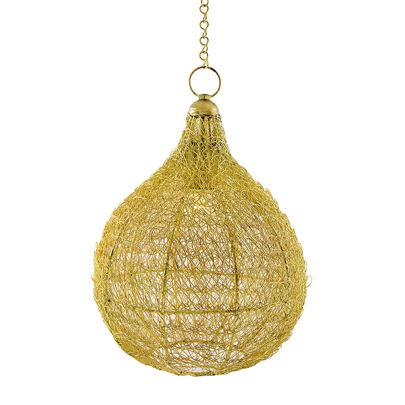 Classic Twisted Wire Crown Hanging Pendant Light, Golden Hanging Fixture Lamp
