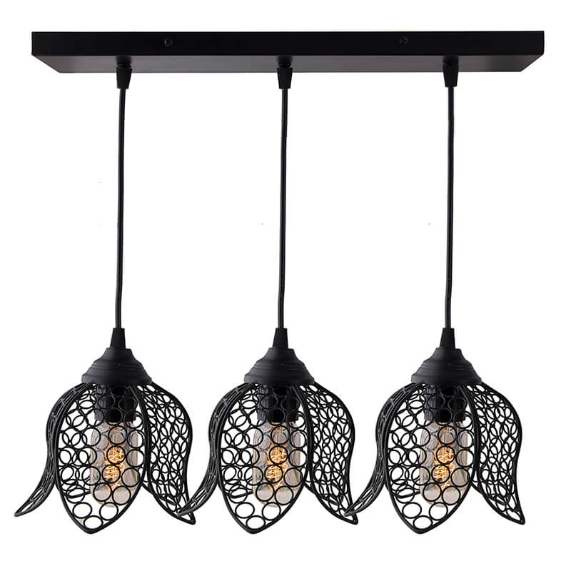 3-Lights Linear Cluster Chandelier Black Lotus Hanging Pendant Light, Kitchen Area and Dining Room Light