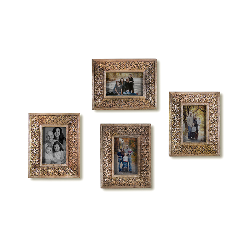 Multi Picture Classic Snowflake Wood Carved Collage Photo Frame, Home and Wall Decorations Set, Designer Picture Frames, Gallery Wall Frame Set