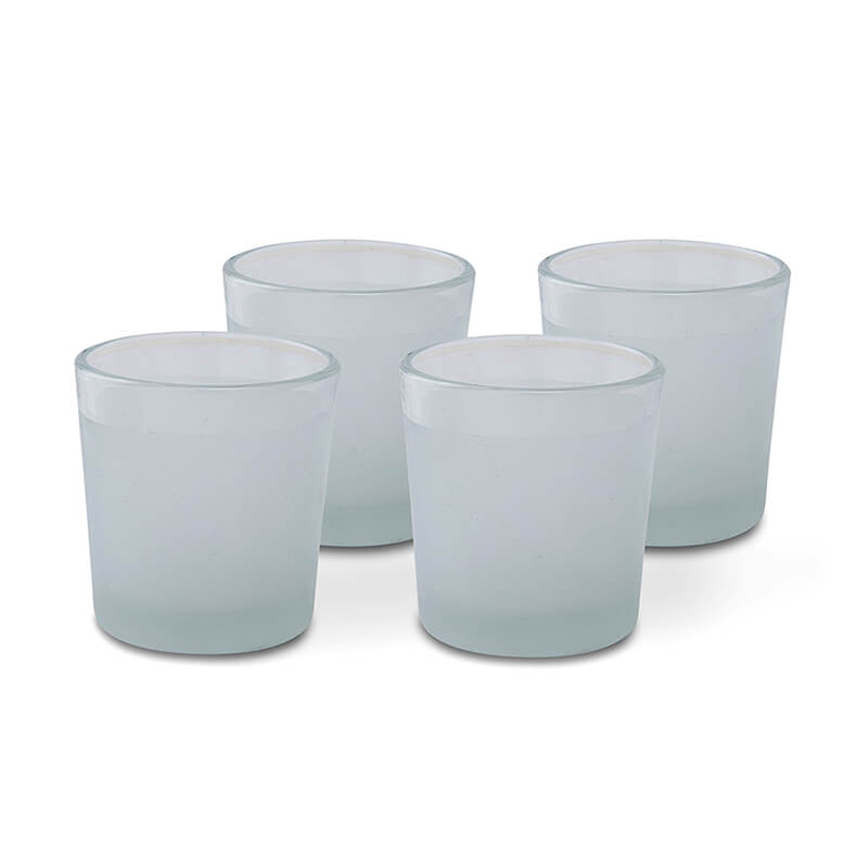 Frost White Votive, Set of 4, Glass Candle Holder Stand with Free Candle