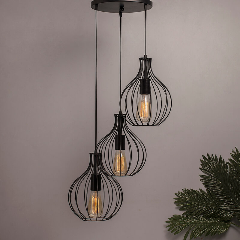 3-Lights Round Cluster Chandelier Hanging Crown Pendant Light with Braided Cord