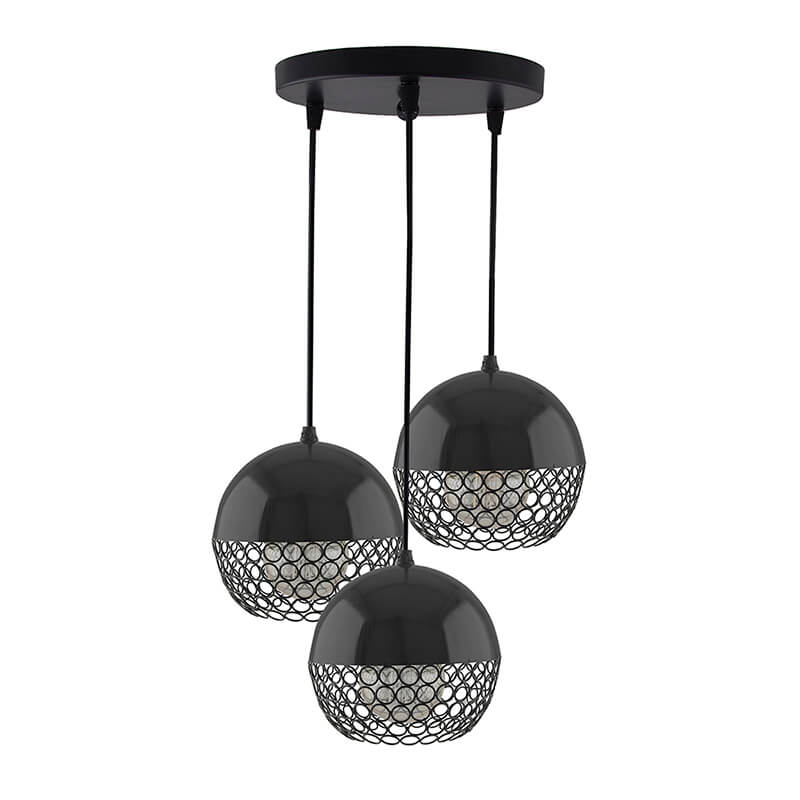 3-Lights Round Cluster Chandelier Hanging Globe Hanging Pendant Light with Braided Cord
