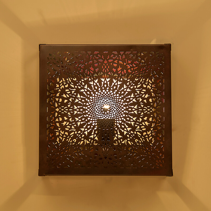 Oriental Square Wall Lamp Light Lampshade, Antique Copper Moroccan Wall Scone