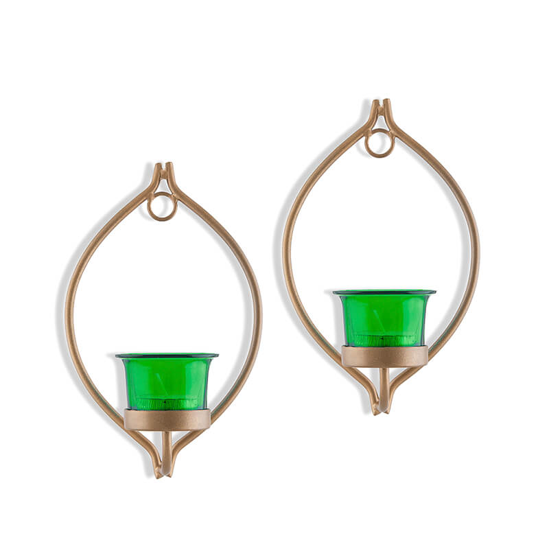 Set of 2 Decorative Golden Eye Wall Sconce/Candle Holder With Green Glass and Free T-light Candles