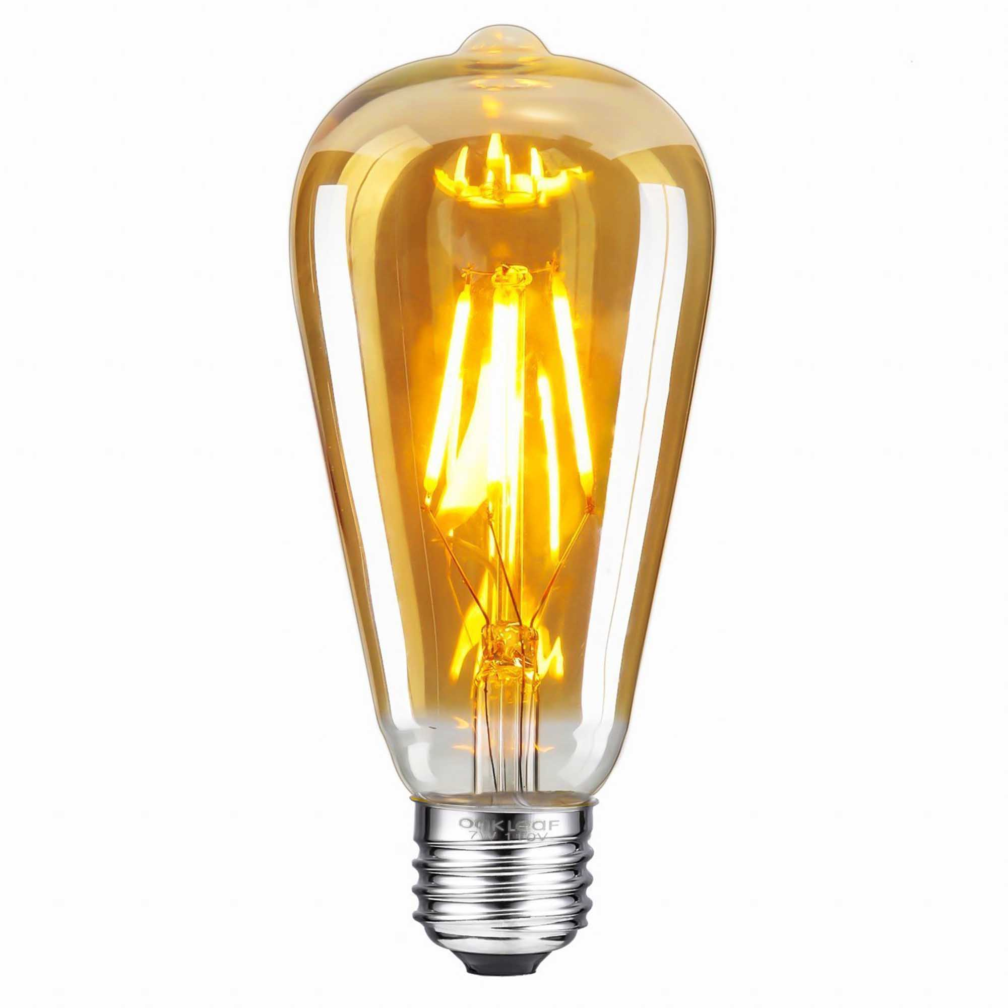 ST64 Pear Shape Filament LED Bulb, 4 Watt, Industrial Decorative Vintage Light Lamp, Set of 4