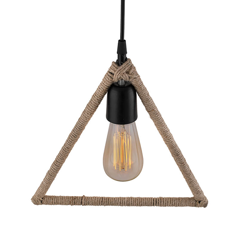 Modern Metal Pendant Lights Hemp Rope Decor Hanging Lamp E27 Loft Ceiling Light with Filament Bulb, Triangle