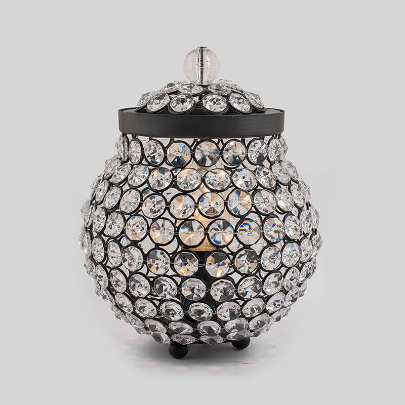 Cauldron of Light, 192 Black Crystal lamp, Decorative Table lamp