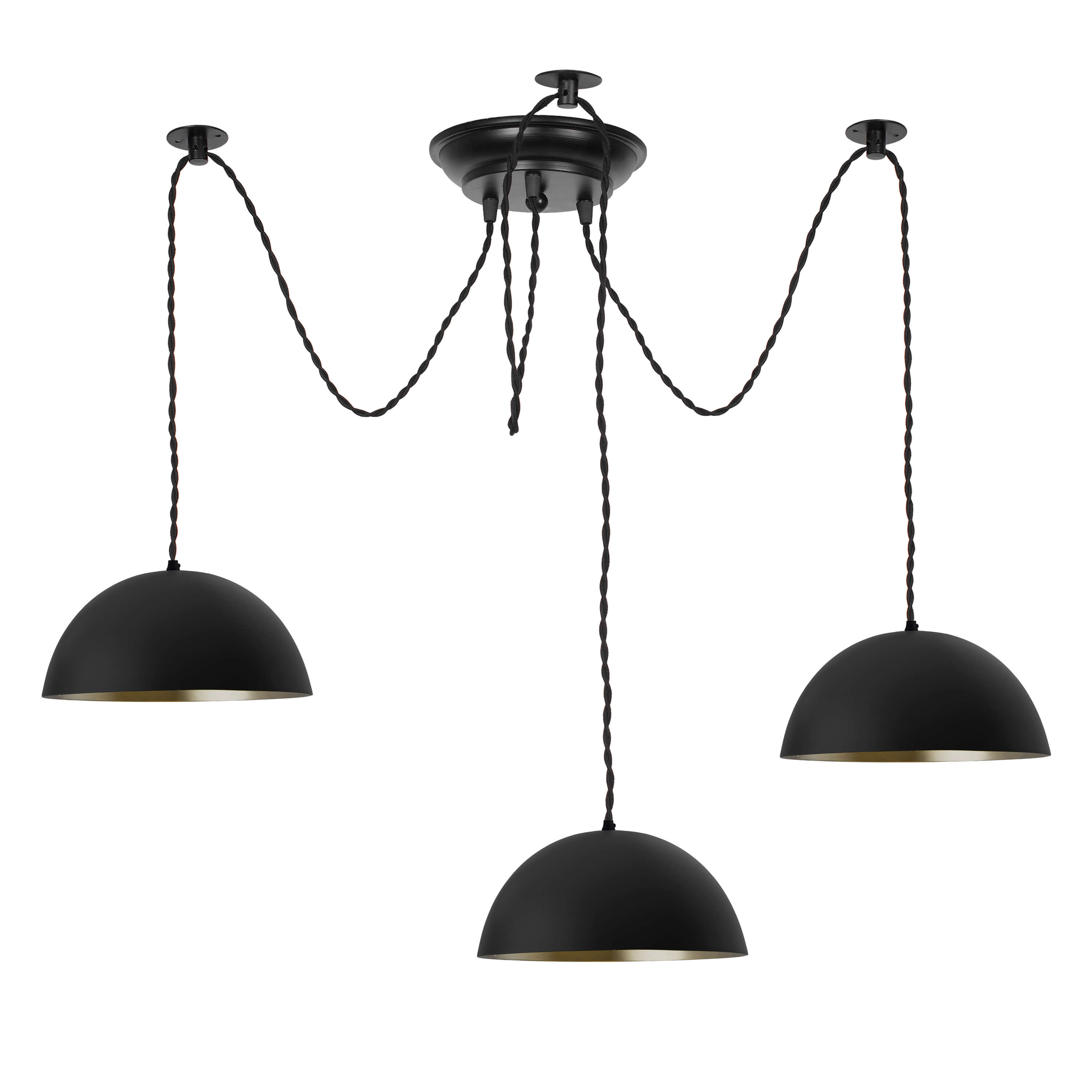 "3 Arms Spider Chandelier Lamp, 8"" Black Semi-Globe Pendant Lamp, Vintage Edison Style E 27 Adjustable DIY Ceiling Pendant Light, E27 Rustic Cluster Hanging Light(1.25 M, Black Twisted Wire)"