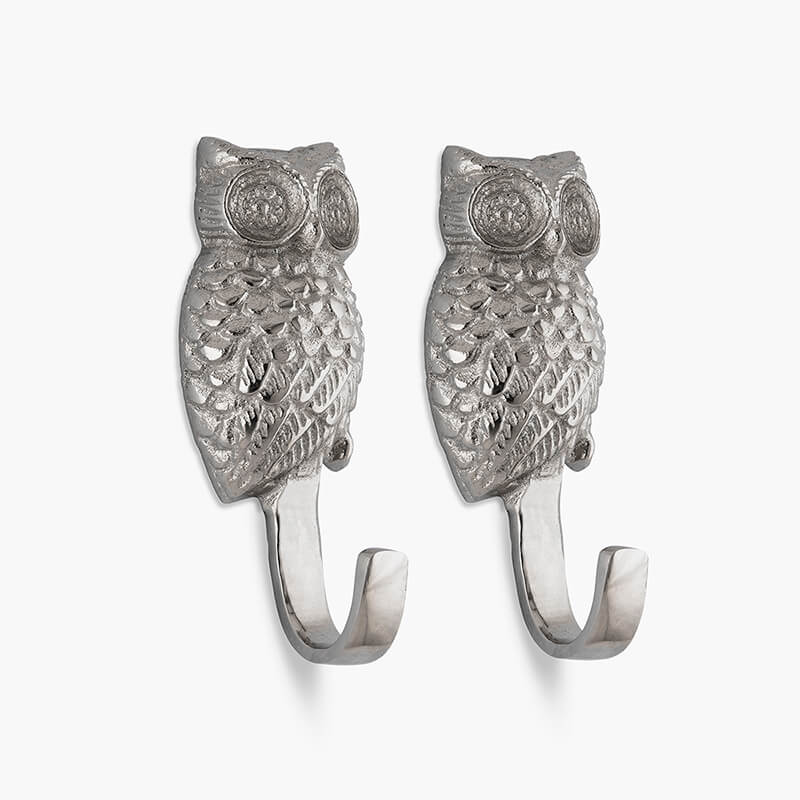 Handmade Owl Wall Hook Decorative - Antique Aluminium Wall Mounted Utility Hooks - Large Decorative Heavy Duty Hooks For Mounting, Set of 2