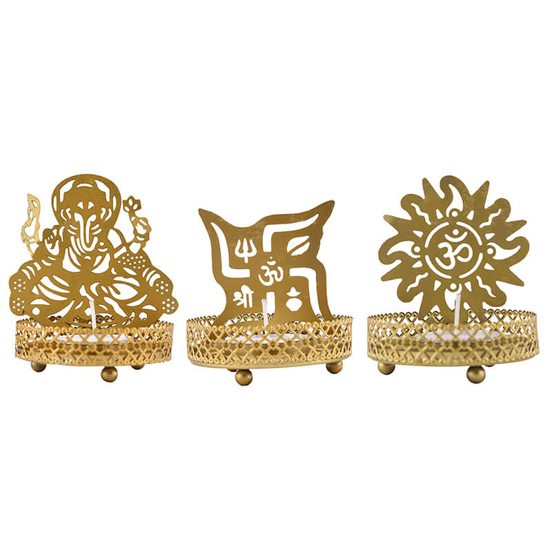 Set of 3 Shadow Ganesh Sathiya Om Metal Tea Light Holder, Brass finish Pooja Diwali Candle Holder with Free Wax Diya